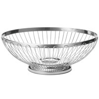 Tablecraft 6171 Regent Small Oval Stainless Steel Basket - 7 inch x 6 inch x 2 3/4 inch