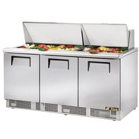 True TFP-72-30M 72 inch 3 Door Mega Top Refrigerated Sandwich Prep Table