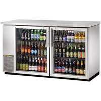 True TBB-24-60G-S-LD Stainless Steel Narrow Glass Door Back Bar Refrigerator with LED Lighting