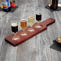 Acopa 14 1/2 inch x 3 1/2 inch Four-Hole Red-Brown Finish Wood Beer Flight Sampler Paddle - 12/Case