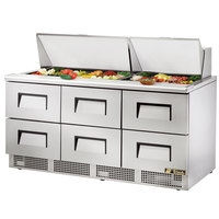 True TFP-72-30M-D6 72 inch 6 Drawer Mega Top Refrigerated Sandwich Prep Table