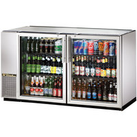 True TBB-24GAL-60G-S-LD 60 inch Stainless Steel Narrow Glass Door Back Bar Refrigerator with Galvanized Top and LED Lighting