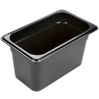 Carlisle 3088203 StorPlus 1/4 Size Black High Heat Plastic Food Pan - 6 inch Deep