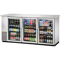 True TBB-24-72G-S-LD 73 inch Stainless Steel Narrow Glass Door Back Bar Refrigerator with LED Lighting