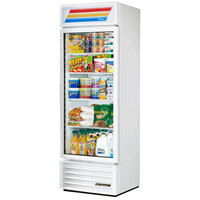 True GDM-19T-LD White 27 inch Glass Door Merchandiser Refrigerator with LED Lighting and White Trim - 19 Cu. Ft.