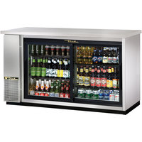 True TBB-24-60G-SD-S-LD 61 inch Stainless Steel Narrow Sliding Glass Door Back Bar Refrigerator with LED Lighting