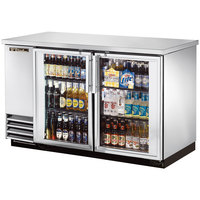 True TBB-2G-S-LD 59 inch Stainless Steel Glass Door Back Bar Refrigerator with LED Lighting