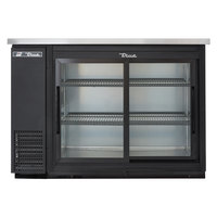 True TBB-24-48G-SD-LD 49 inch Black Narrow Sliding Glass Door Back Bar Refrigerator with LED Lighting