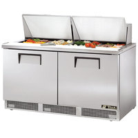 True TFP-64-24M 64 inch Mega Top Two Door Refrigerated Salad / Sandwich Prep Refrigerator