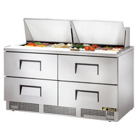 True TFP-64-24M-D4 64 inch 4 Drawer Mega Top Refrigerated Sandwich Prep Table