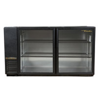 True TBB-24GAL-60G-LD 60 inch Black Narrow Glass Door Back Bar Refrigerator with Galvanized Top and LED Lighting