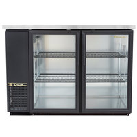 True TBB-24-48G-LD 49 inch Black Narrow Glass Door Back Bar Refrigerator with LED Lighting