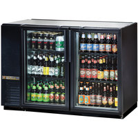 True TBB-24GAL-48G-LD 48 inch Black Narrow Glass Door Back Bar Refrigerator with Galvanized Top and LED Lighting