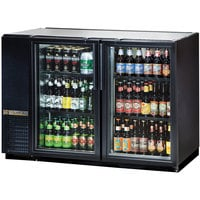 "True TBB-24GAL-48G-LD 48"" Black Narrow Glass Door Back Bar Refrigerator with Galvanized Top and LED Lighting"