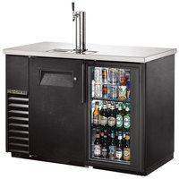 True TDB-24-48-1-G-1-LD 49 inch Back Bar Refrigerator Kegerator with One Solid Door, One Glass Door, and LED Lighting