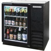 Beverage Air BB36G-1-B-LED 36 inch Glass Door Back Bar Refrigerator - Black with LED Lighting