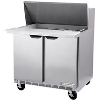 Beverage Air SPE36-15M-STL 36 inch 2 Door Refrigerated Sandwich Prep Table with Glass Lid