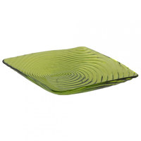 10 Strawberry Street Zeus ZS-6SQ(LG) 6 3/8 inch Lime Green Square Glass Plate 24 / Case