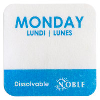 """Noble Products Monday 1"""" Dissolvable Day of the Week Label - 1000/Roll"""