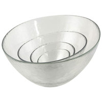 10 Strawberry Street HAG-7BWL 18 oz. Hammered Glass Angled Bowl   - 24/Case