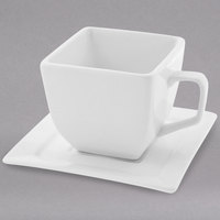10 Strawberry Street WTR-CUP Whittier 4 oz. White Square Porcelain Cup with Saucer - 24/Case