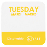 Noble Products Tuesday 1 inch Dissolvable Day of the Week Dot Label - 1000/Roll