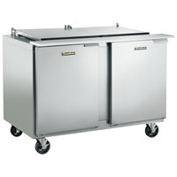 Traulsen UST7212-LL-SB 72 inch 2 Left Hinged Door Stainless Steel Back Refrigerated Sandwich Prep Table