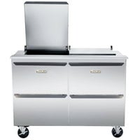Traulsen UST7224-DD-SB 72 inch 4 Drawer Stainless Steel Back Refrigerated Sandwich Prep Table