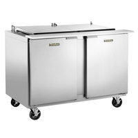 Traulsen UST488-LR-SB 48 inch Sandwich / Salad Prep Table with Left / Right Hinged Doors and Stainless Steel Back