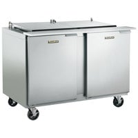 Traulsen UST488-LL-SB 48 inch 2 Left Hinged Door Stainless Steel Back Refrigerated Sandwich Prep Table