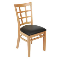 Lancaster Table & Seating Natural Wooden Window Back Chair with 2 1/2 inch Padded Seat