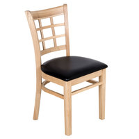 Lancaster Table & Seating Natural Wooden Window Back Chair with 1 1/2 inch Padded Seat