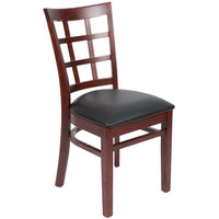Lancaster Table & Seating Mahogany Wooden Window Back Chair with 2 1/2 inch Padded Seat