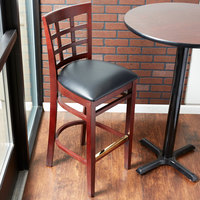lancaster table u0026 seating mahogany window back bar height chair with black padded seat