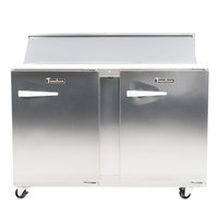 Traulsen UPT4812-RR-SB 48 inch 2 Right Hinged Door Stainless Steel Back Refrigerated Sandwich Prep Table