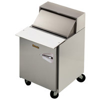 Traulsen UPT279-L-SB 27 inch 1 Left Hinged Door Stainless Steel Back Refrigerated Sandwich Prep Table