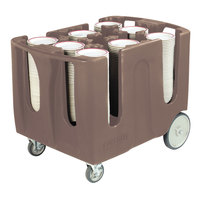 Carlisle ADD601 Brown Optimizer Adjustable 6 Stack Dish Dolly with 6 Dividers