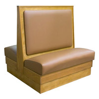 American Tables & Seating AD48-W-SS Plain Back Standard Seat Double Wood Booth - 48 inch High