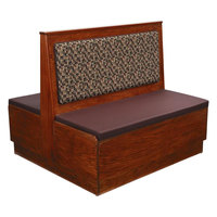 American Tables & Seating AD42-W-PS Plain Back Platform Seat Double Wood Booth - 42 inch High