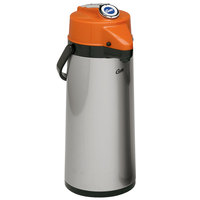 Curtis TLXA2201G000D 2.2 Liter Stainless Steel Lever Airpot with Glass Liner and Orange Top