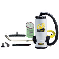 ProTeam 107145 6 Qt. QuietPro BP HEPA Backpack Vacuum with 107099 Xover Performance Floor Tool Kit C and HEPA Filtration System - 120V