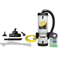 ProTeam 107161 10 Qt. LineVacer Backpack Vacuum Cleaner with HEPA filter and 107162 Turbo Brush Kit - 120V