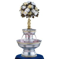 Apex 3025-G Mirage 5 Gallon Silver Aluminum Beverage Fountain with Gold Rope Trim & Statue Set