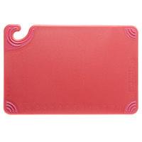 San Jamar CBG121812RD 12 inch x 18 inch x 1/2 inch Saf-T-Grip Red Cutting Board with Hook