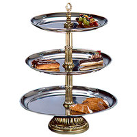 Apex CLA21-1814-G Classic Series Three Tier Food Tray with Gold Column - 27 inch High