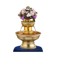 Apex 3012-GT Hostess 3 Gallon Gold Aluminum Beverage Fountain with Gold Rope Trim and Floral Cup