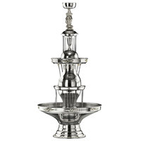 Apex 4050-SS Golden Anniversary 5 Gallon SS Beverage Fountain with Silver Bow Tie Trim, Statue & Waterfall Set