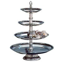 Apex CLA21-181412-S Classic Series Four Tier Food Tray with Silver Column - 27 inch High