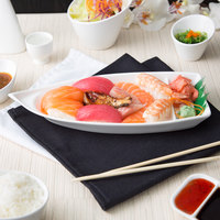 10 Strawberry Street WTR-SUSHIBT Whittier 12 inch x 5 inch White Porcelain Sushi Boat   - 24/Case