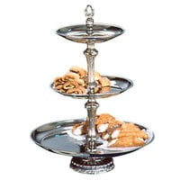 Apex ATV18-1412-S Atlantis Series Three Tier Food Tray with Silver Column - 24 inch High
